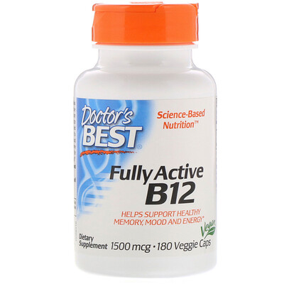 Купить Doctor's Best Активный витаминB12, 1500мкг, 180растительных капсул