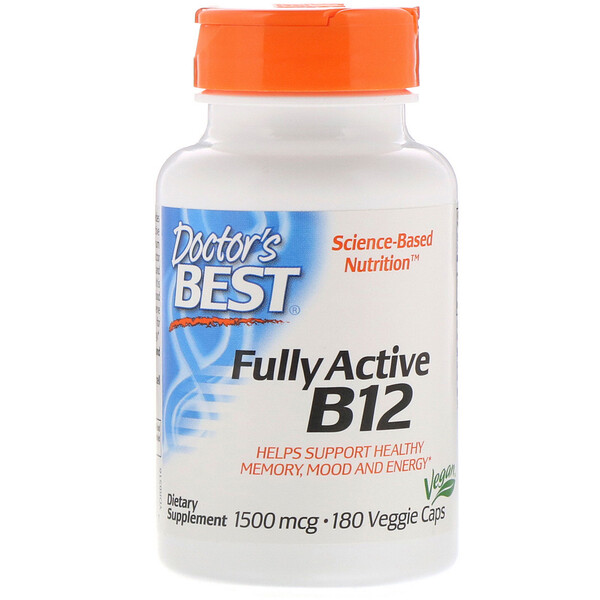 Doctor's Best, B12 entièrement active, 1500µg, 180capsules végétariennes