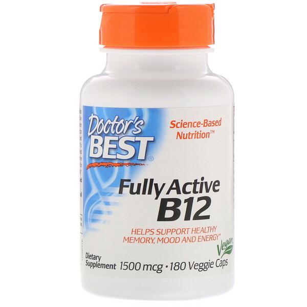 Doctor's Best, Fully Active B12, 1,500 mcg, 180 Veggie Caps