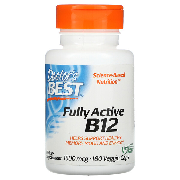 Doctor's Best, Fully Active B12, 1,500 mcg, 180 Veggie Caps