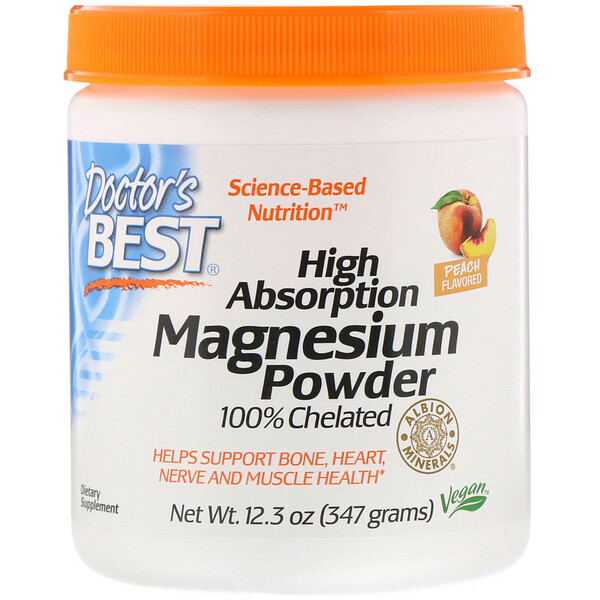 High Absorption Magnesium Powder 100% Chelated with Albion Minerals, Peach Flavored, 12.3 oz (347 g)