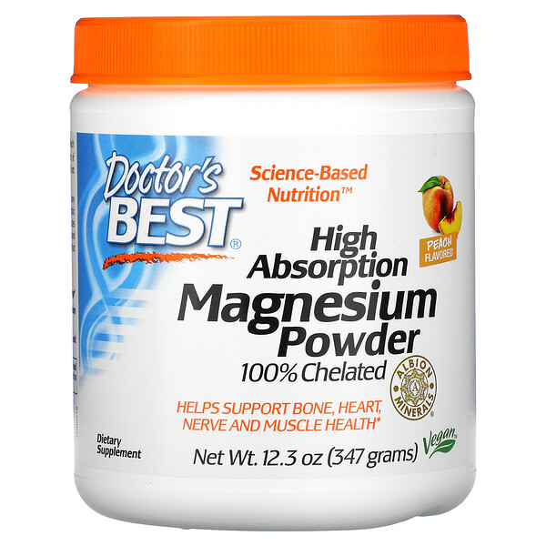 Doctor's Best, Magnesium Powder, High Absorption, Peach, 12.3 oz (347 g)