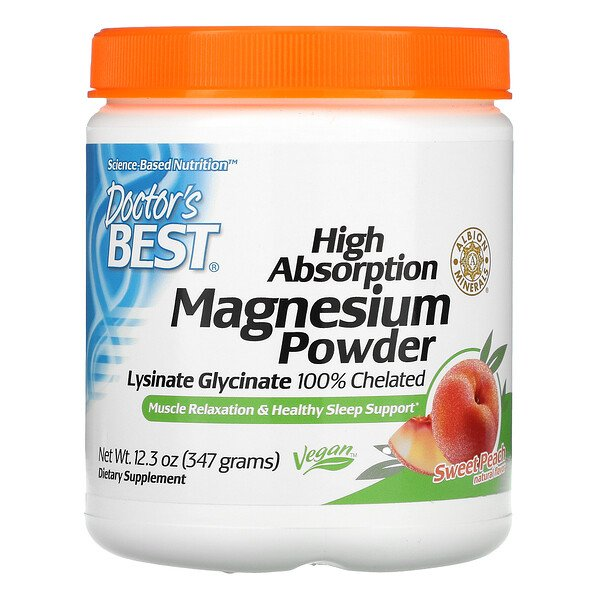 Doctor's Best, Magnesium Powder, High Absorption, Sweet Peach, 12.3 oz (347 g)