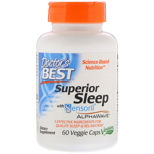 Doctor's Best, Superior Sleep with Sensoril AlphaWave, 60 Veggie Caps