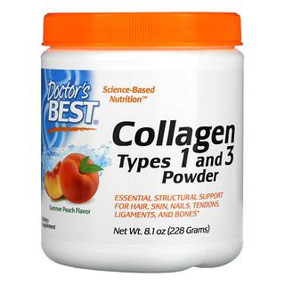 Doctor's Best, Polvo de colágeno tipo1y3, Sabor a melocotón, 228g (8,1oz)