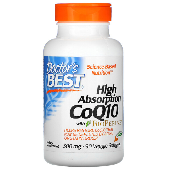 High Absorption CoQ10 with BioPerine, 300 mg, 90 Veggie Softgels