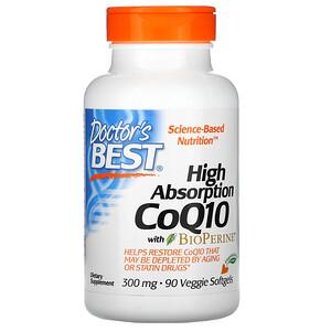 Докторс Бэст, High Absorption CoQ10 with BioPerine, 300 mg, 90 Veggie Softgels отзывы покупателей