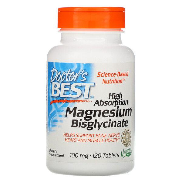 Doctor's Best, High Absorption Magnesium Bisglycinate, 100 mg, 120 Tablets