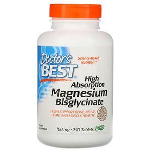 Докторс Бэст, High Absorption Magnesium Bisglycinate, 100 mg , 240 Tablets отзывы покупателей