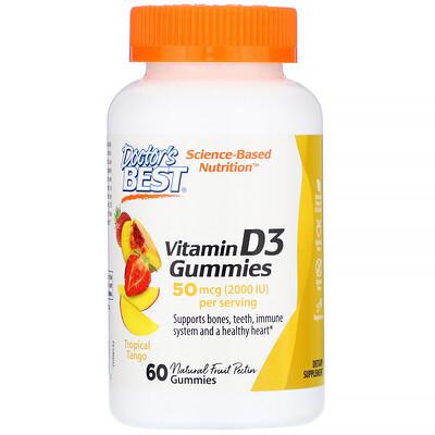 Doctor's Best Жевательные таблетки с витамином D3, со вкусом тропических фруктов, 50мкг, 60шт.