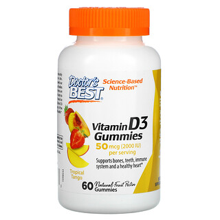 Doctor's Best, жевательные таблетки с витаминомD3, со вкусом тропических фруктов, 50мкг (2000МЕ), 60жевательный таблеток
