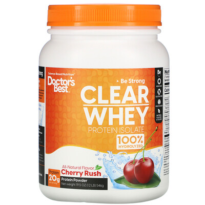 Doctors Best Clear Whey Protein Isolate, Cherry Rush , 1.2 lbs (546 g)