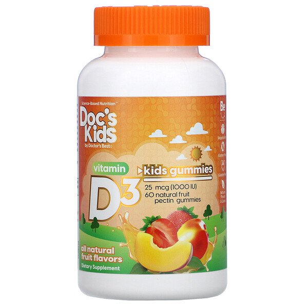 Doctor's Best, Doc's Kids, Vitamin D3 Gummies, All Natural Fruit Flavors, 25 mcg (1,000 IU), 60 Natural Fruit Pectin Gummies