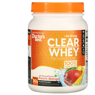 Doctor's Best, Clear Whey Protein Isolate, Peach Mango, 1.17 lb (529.2 g)