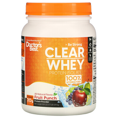 Купить Doctor's Best Clear Whey Protein Isolate, Fruit Punch, 1.2 lbs (546 g)