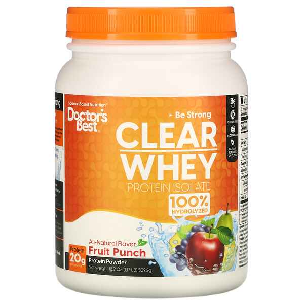 Clear Whey Protein Isolate, Fruit Punch, 1.17 lb (529.2 g)