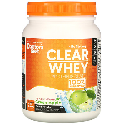 Купить Doctor's Best Clear Whey Protein Isolate, Green Apple, 1.2 lbs (546 g)
