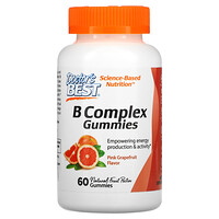 Doctor's Best, B Complex Gummies, Pink Grapefruit, 60 Gummies