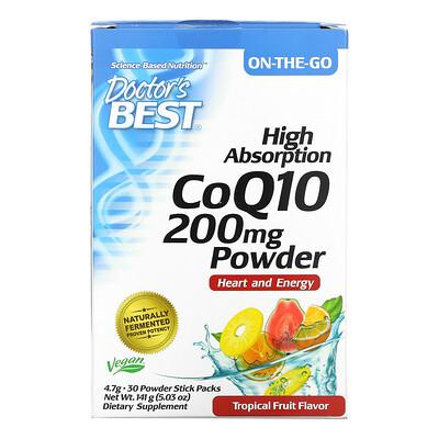 Купить Doctor's Best High Absorption CoQ10 Powder, Tropical Fruit, 200 mg, 30 Powder Stick Packs, 4.7 g Each