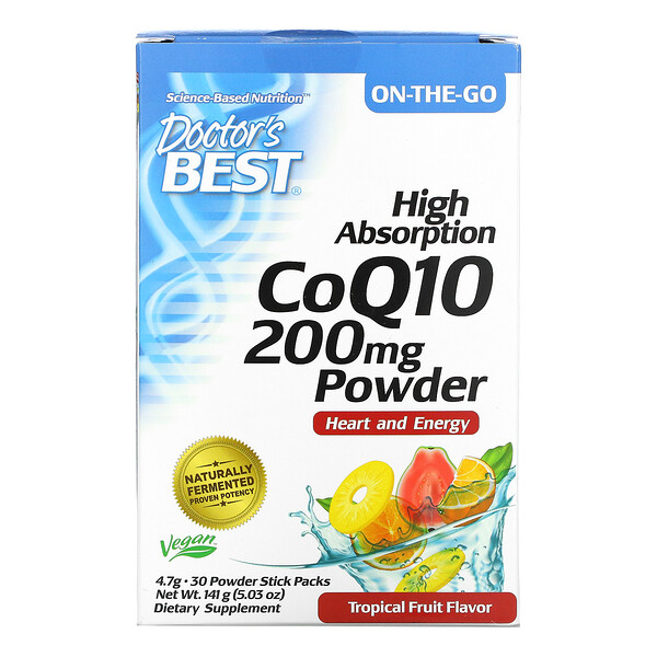 High Absorption CoQ10 Powder, Tropical Fruit, 200 mg, 30 Powder Stick Packs, 4.7 g Each