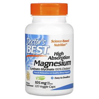 Doctor's Best, легкоусвояемый магний, на 100% в хелатной форме, лизинат и глицинат, 52.5 мг, 120вегетарианских капсул