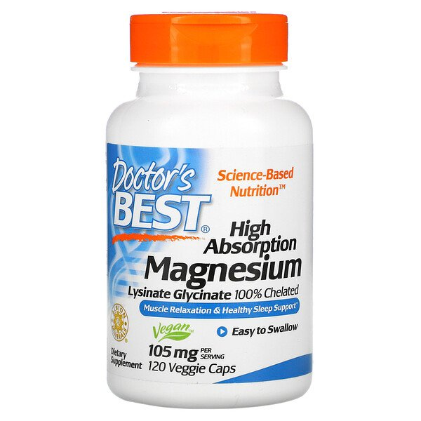 High Absorption Magnesium, Lysinate Glycinate 100% Chelated, 105 mg, 120 Veggie Caps