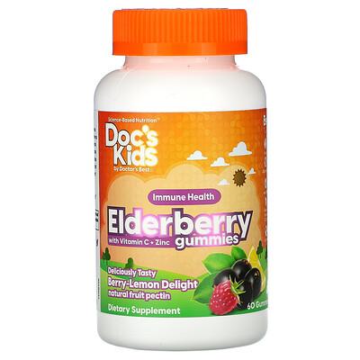 Doctor's Best Doc's Kids, жевательные таблетки с бузиной, витаминомC и цинком, со вкусом ягод и лимона, 60жевательных таблеток