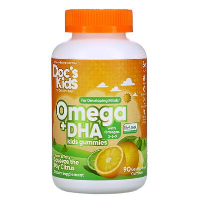 Купить Doctor's Best детские жевательные конфеты Омега + ДГК, цитрусовый вкус, 90 жевательных конфет без желатина
