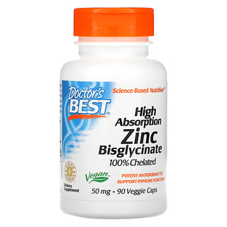 Doctor's Best, High Absorption Zinc Bisglycinate, 100% Chelated, 50 mg, 90 Veggie Caps