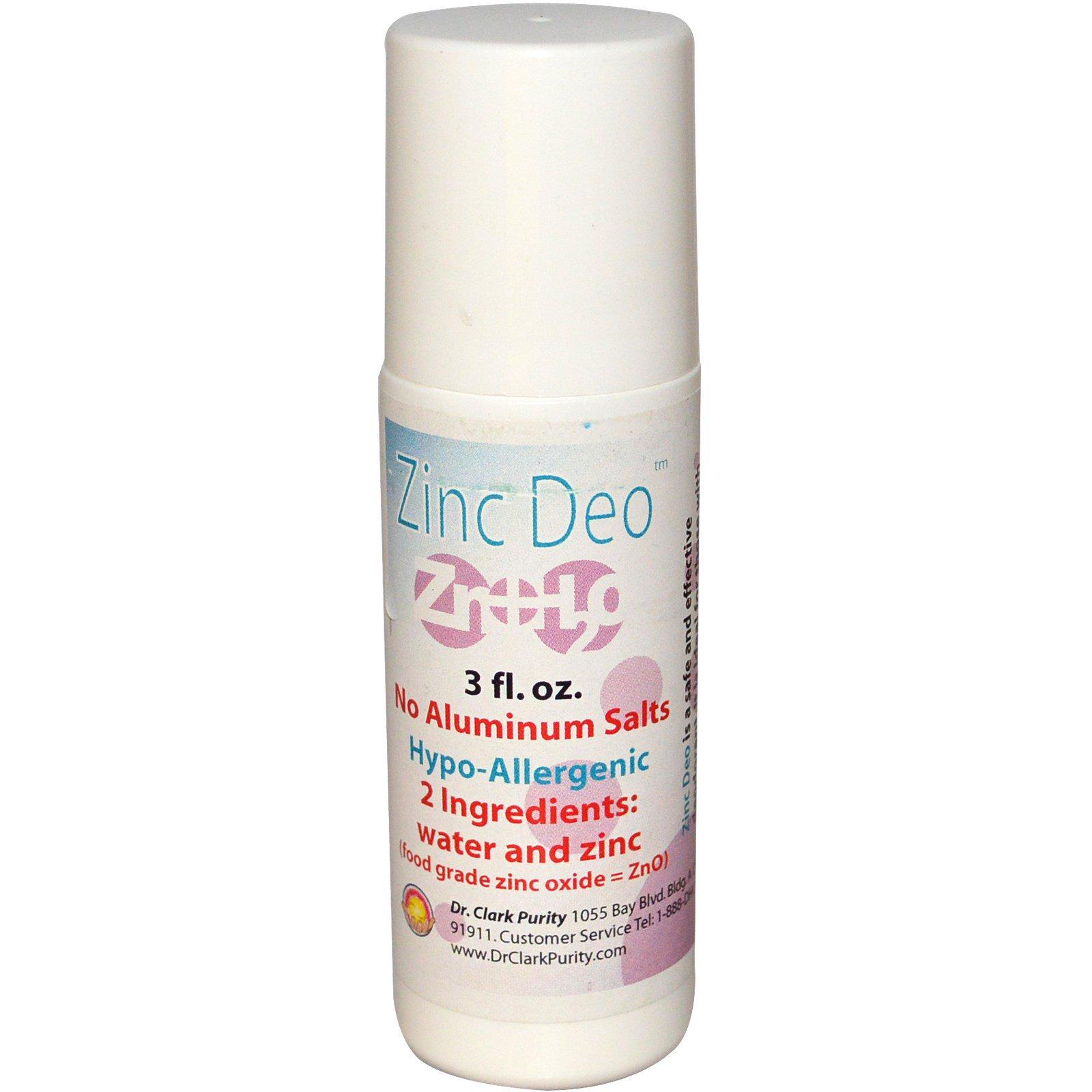 Dr. Clark's Purity Products, Шариковый дезодорант с цинком, 3 жидк. унц.