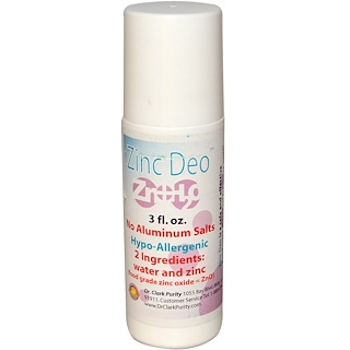 Dr. Clark's Purity Products, Zinc Deo Roll-On Deodorant, 3 fl oz
