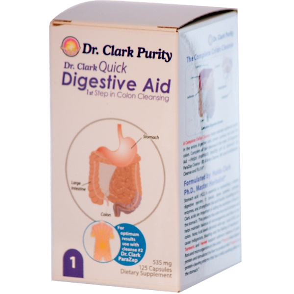 Dr. Clark's Purity Products, Quick Digestive Aid, 535 mg, 125 Capsules (Discontinued Item)
