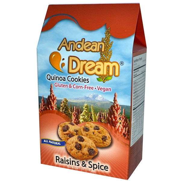 Andean Dream, Quinoa Cookies, Raisins & Spice, 7 oz (198 g) (Discontinued Item)