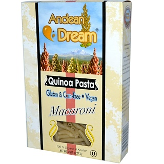 Andean Dream, キノアパスタ マカロニ 8 oz (227 g)