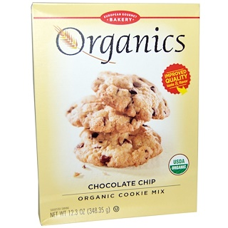 European Gourmet Bakery, Organics, 유기농 쿠키 믹스, 초콜릿 칩, 12.3 oz (348.35 g)