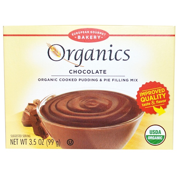 European Gourmet Bakery, Organics, Cooked Pudding & Pie Filling Mix, Chocolate, 3.5 oz (99 g) (Discontinued Item)