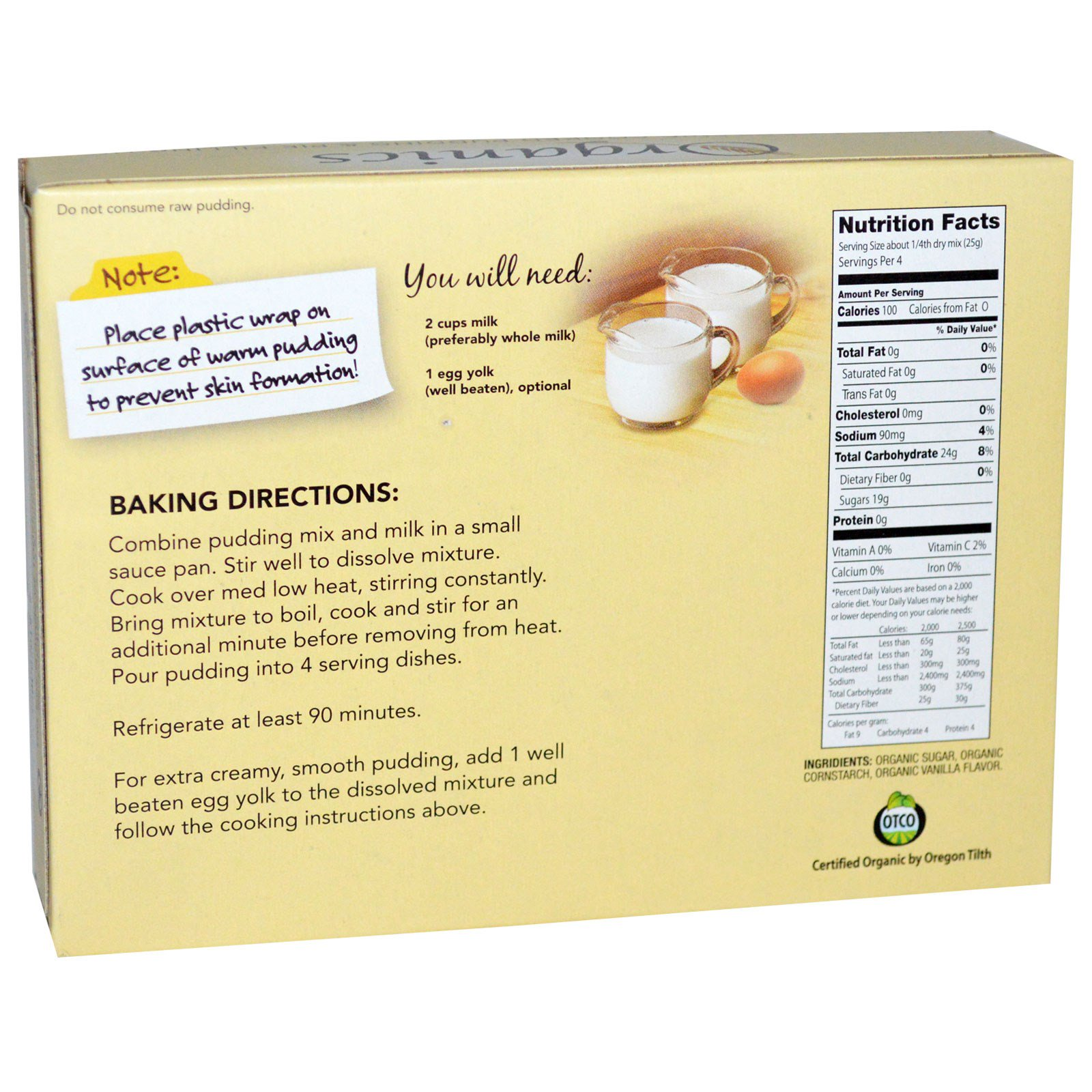 European Gourmet Bakery Organics Cooked Pudding And Pie Filling