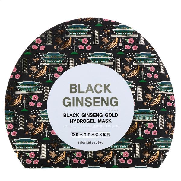 Dear Packer, Black Ginseng, Black Ginseng Gold Hydrogel Mask, 1 Sheet, 1.06 oz (30 g) (Discontinued Item)