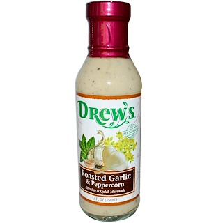 Drew's Organics, Dressing & Quick Marinade, Roasted Garlic & Peppercorn, 12 fl oz (354 ml)
