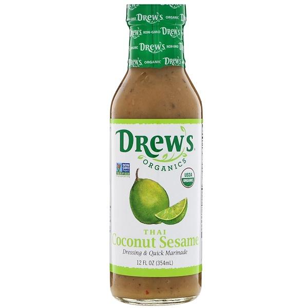 Drew's Organics, Dressing & Quick Marinade، سمسم وجوز الهند التايلاندي، 12 أوقية سائلة (354 مل)