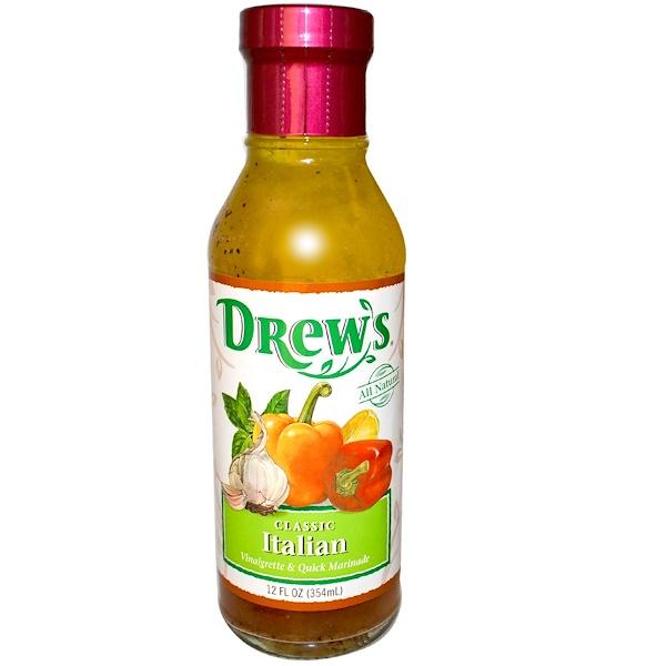 Drew's Organics, Уксусная заправка и быстрый маринад, классическая итальянская, 12 жидк. унций (354 мл) (Discontinued Item)