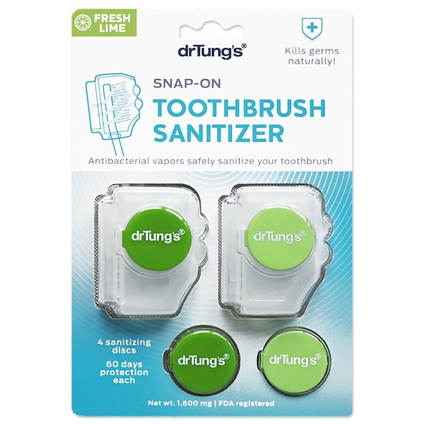 Dr. Tung's, Snap-On Toothbrush Sanitizer, Fresh Lime, 1,600 mg