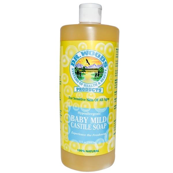 Dr. Woods, Baby Mild Castile Soap, 32 fl oz (946 ml) (Discontinued Item)