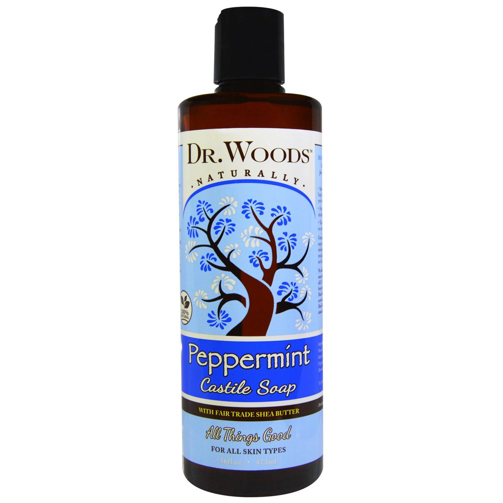 Dr. Woods, Перечная мята, кастильское мыло с маслом ши, соответствующим стандартам справедливой торговли, 16 жидких унций (473 мл)