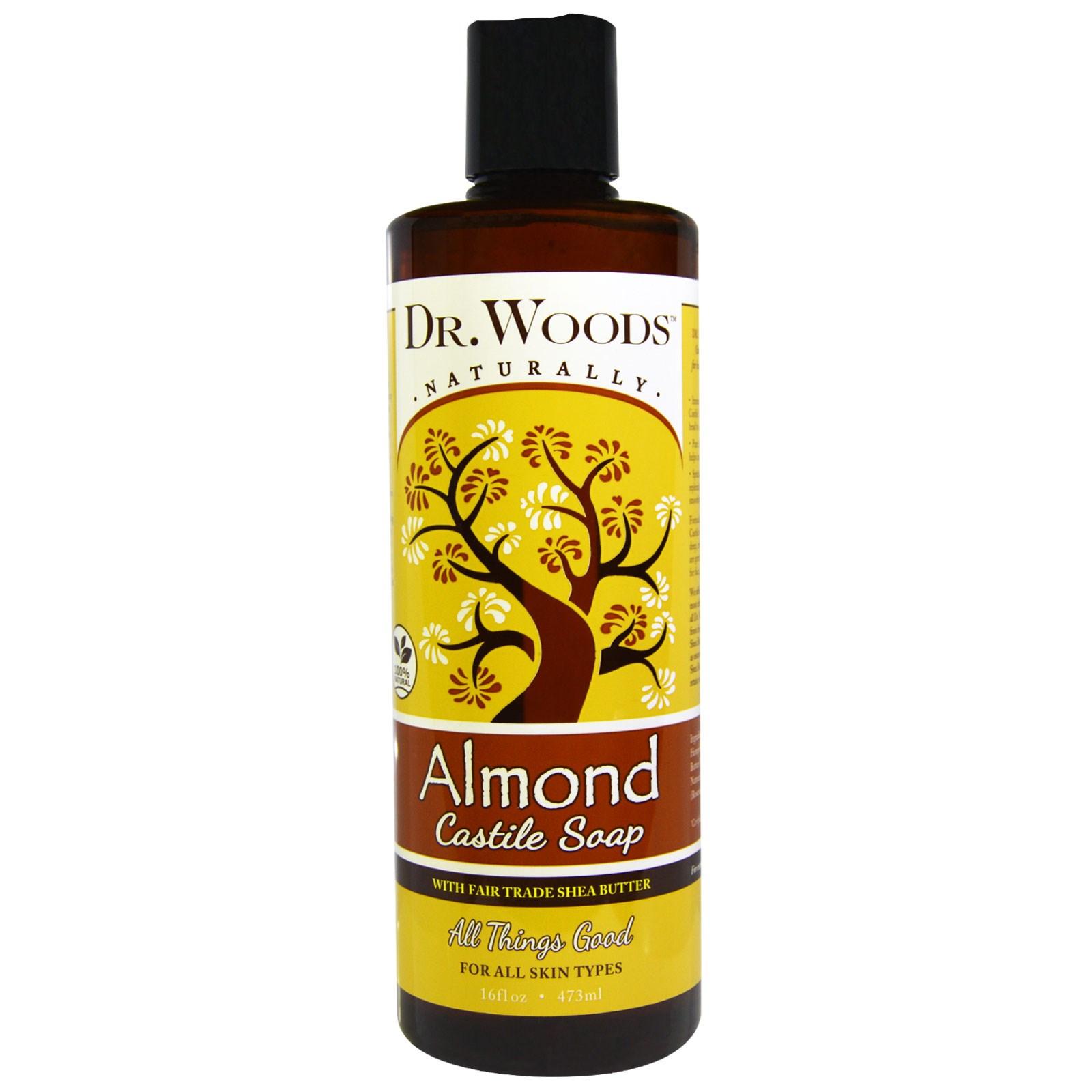 Dr. Woods, Миндальное кастильское мыло маслом ши, произведенным с соблюдением принципов справедливой торговли, 16 жидких унций (473 мл)