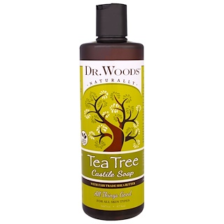 Dr. Woods, Tea Tree Castile Soap with Fair Trade Shea Butter, 16 fl oz (473 ml)