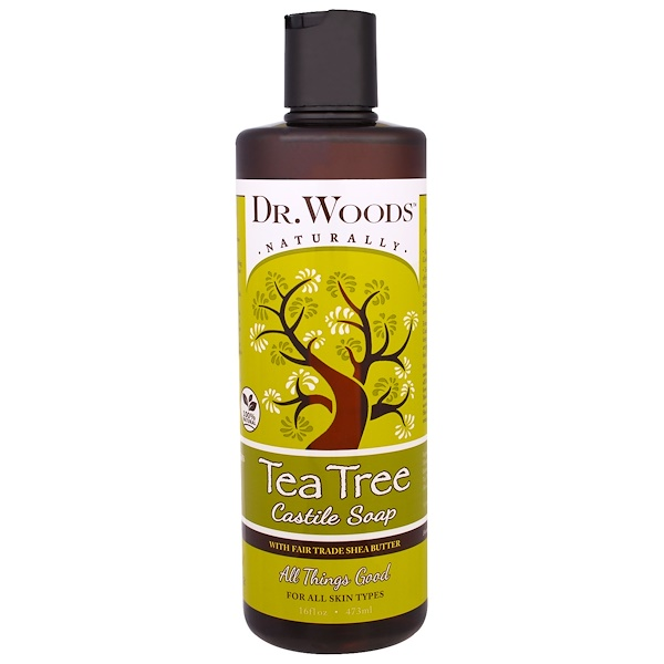 Dr. Woods, Tea Tree Castile Soap with Fair Trade Shea Butter, 16 fl oz (473 ml) (Discontinued Item)