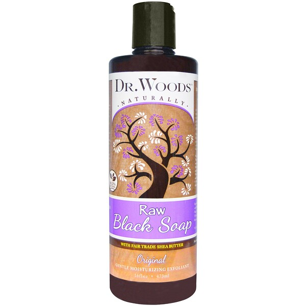 Raw Black Soap with Fair Trade Shea Butter, Original, 16 fl oz (473 ml)