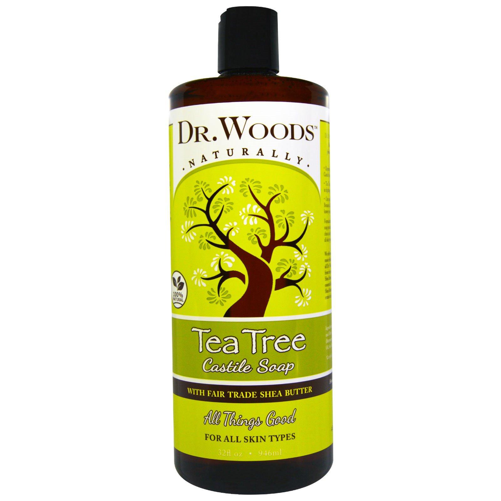 Dr. Woods, Чайное дерево, кастильское мыло с маслом ши, соответствующим стандартам справедливой торговли, 32 жидкие унции (946 мл)