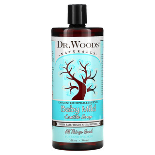 Dr. Woods, Baby Mild, Castile Soap with Fair Trade Shea Butter, Unscented, 32 fl oz (946 ml)